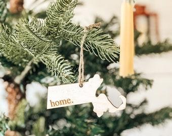 Massachusetts Home Ornament | Wood Ornament | Massachusetts State | State Ornament