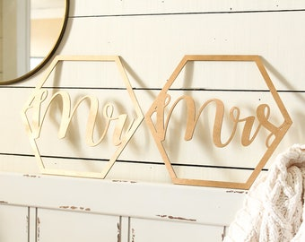 Honeycomb Mr Chair Sign Mrs Chair Sign | Mr and Mrs Chair Sign Set | Rustic Wedding | Honeycomb Wedding Sign | Chair Signs