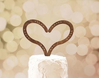 Horseshoe Heart Cake Topper | Rustic Wedding Cake Topper |  Wood Cake Topper | Equestrian Wedding | Free Shipping