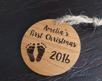 First Christmas Ornament | Baby's First Christmas | Engraved Ornament Alder Wood | 2019 Christmas Ornament