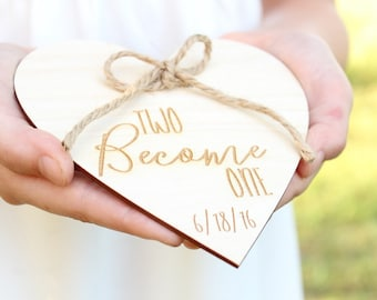 Two Become One Wedding Ring Holder | Rustic Wedding Ring Holder | Free Shipping