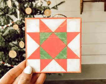 Crystal Star Barn Quilt Ornament | DIY Barn Quilt Ornament | Barn Quilt Ornament
