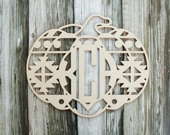 Pumpkin Monogram Cutout | Aztec Pumpkin | Door Hanger | Thanksgiving Pumpkin Wreath Supplies