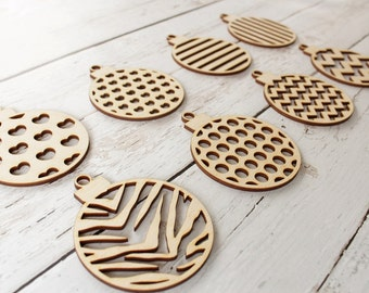 Wood Christmas Ornaments Unfinished | Animal Print Ornaments | Polka Dot Ornaments