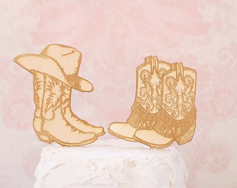 Country Western Wedding Cake Topper | Cowboy Boot Cake Topper | Rustic Wedding Cake Topper | Free Shipping