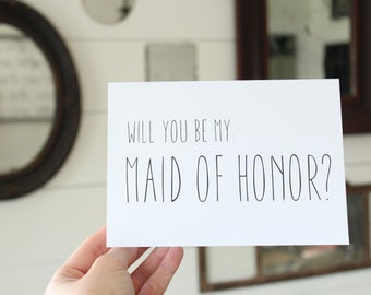 Will You Be My Maid of Honor Card | Simple Maid of Honor Card | Greeting Card | Wedding Card