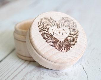 Fingerprint Ring Box | Thumbprint Heart Engraved Ring Box | Wedding Ring Box | Free Shipping