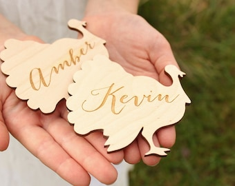 Turkey Placecards | Wood Place Cards | Thanksgiving Table Setting | Turkey Name Cards | Turkey Shape Thanksgiving Decor