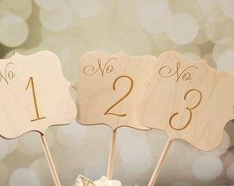 Rustic Wedding Table Numbers | Engraved Wedding Table Numbers | Table Number Signs | Table Numbers Centerpieces