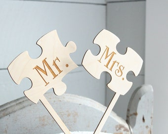 Mr and Mrs Puzzle Piece Cake Topper | Puzzle Cake Topper | Wedding Cake Topper | Rustic Cake Topper | Free Shipping