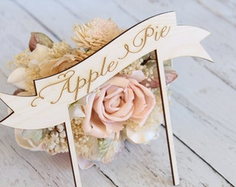 Food Signs | Apple Pie Sign | Cake Sign | Pie Sign | Buffet Food Table Signs | Food Labels | Banner Food Sign