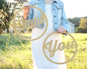 Thank You Sign | Rustic Elegance Gold Thank You Signs | Wedding Photoprop