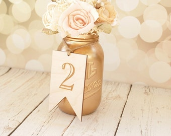 Bunting Banner Table Numbers | Rustic Wood Wedding Table Numbers | Mason Jar Wedding | Table Numbers