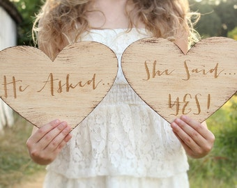 He Asked She Said Yes Heart Signs | Rustic Engagement Photo Prop | Engraved Rustic Wood Wedding Signs
