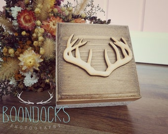Antler Ring Box | Wedding Ring Box | Wood Keepsake Box | Rustic Wood Box | Free Shipping