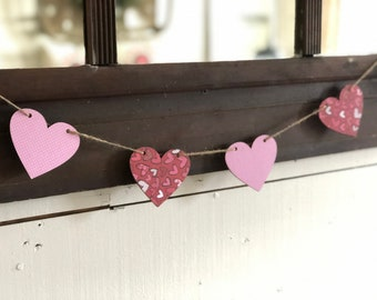 Valentines Banner | Pink Heart Banner | Farmhouse Valentines Day Decor | Black and White Heart Banner | Photo Prop Banner