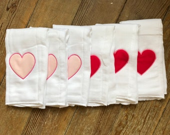 Valentines Burp Cloth | Heart Burp Cloth | Pink Heart Burp Cloth