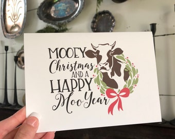Farm Christmas Card | Cow Greeting Card | Farmhouse Christmas