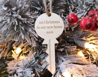 First Christmas In Our New Home Key Ornament | Farmhouse Christmas | Rustic Christmas Tree Ornament 2019 | Free Shipping