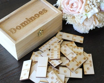 Dominoes | Rustic Wedding Games | Double Six Dominoes Game | Wood Dominoes | Guest Book Alternative