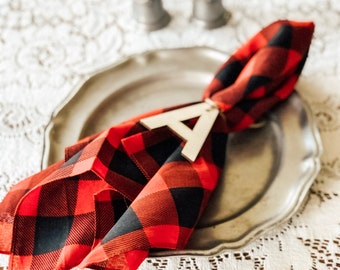 Napkin Ring Letters | Stocking Tag Letters | Thanksgiving Table Setting | Natural Wood Napkin Ring Letters