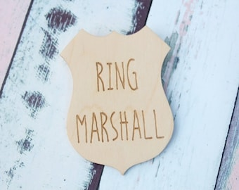 Ring Marshall Badge | Ring Bearer Badge | Ring Bearer Gift | Ring Security | Rustic Wedding | Ring Bearer