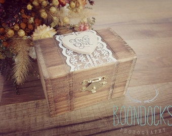 Two Become One Ring Box | Wood Ring Box Lace Ring Box | Free Shipping