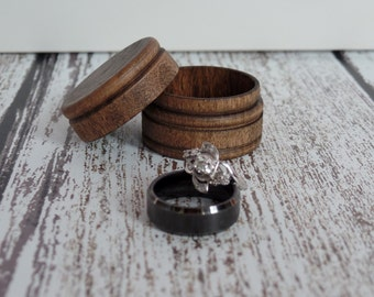 Wood Ring Box | Ring Bearer Box | Keepsake Ring Box | Dark Walnut Ring Box | Rustic Wedding Ring Box | Free Shipping