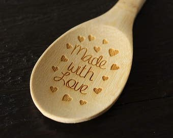 Made With Love Spoon | Engraved Wooden Spoon | Bamboo Spoon | Cooking Utensils