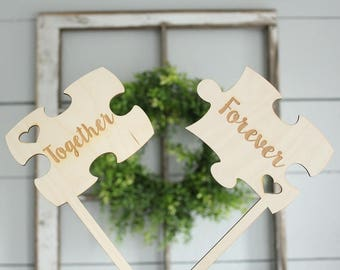 Together Forever Puzzle Piece Cake Topper | Puzzle Cake Toppers | Wedding Cake Topper | Together Forever Cake Topper | Free Shipping