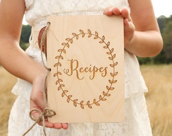 Recipes Notebook | Bridal Shower Gift | Rustic Recipes Book | Wood Recipes Book | Rustic Kitchen | Rustic Wedding | Baby Shower Gift