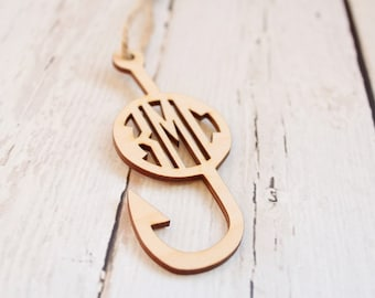 Fish Hook Ornament | Monogrammed Fish Hook | Fisherman Gift | Fish Hook Ornament