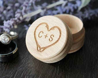 Fish Hook Heart Ring Box with Initials | Rustic Wood Ring Box | Keepsake Ring Box | Free Shipping