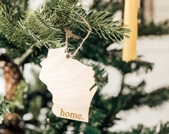 Wisconsin Home Ornament | Wood Ornament | State Ornament | Wisconsin