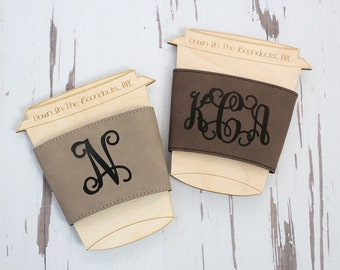 Leather Coffee Cup Sleeve | Gift For Her | Coffee Lover Gift | Wedding Favor