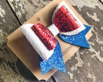 Patriotic Glitter Hair Clip | July 4th Hair Bow | Alligator Hair Clip | Felt Hair Clip | Stars and Stripes Hair Bow