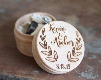 Wreath Ring Box | Rustic Wedding Ring Box With Names and Date | Free Shipping