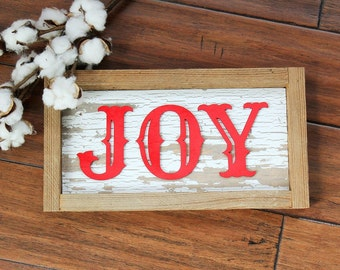 JOY Farmhouse Christmas Sign | Rustic Christmas Sign | Distressed JOY Sign | Ready To Ship