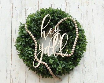 hey y'all sign | gallery wall sign | wreath making supplies | Farmhouse Decor