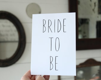 Bride To Be Card | Simple Bridal Shower Card | Greeting Card | Bridal Shower Card