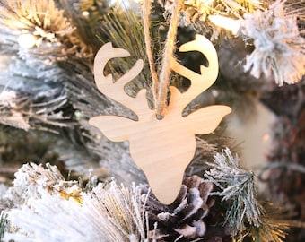 Reindeer Ornament | Farmhouse Christmas Ornament | Wood Ornament