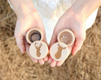Buck and Doe Ring Box Set | Rustic Wood Ring Box | Keepsake Ring Box | Camo Wedding | Ring Box | Photo Prop | Ring Box Under 15