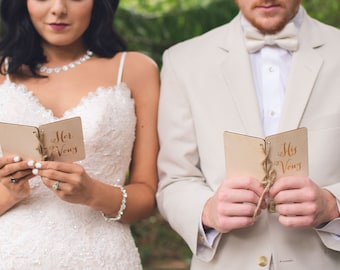 Vow Books | His Vow Book | Her Vow Book | Rustic Wood Vow Book Set | His and Her Vows Notebook Set | Bridal Shower Gift | Rustic Wedding