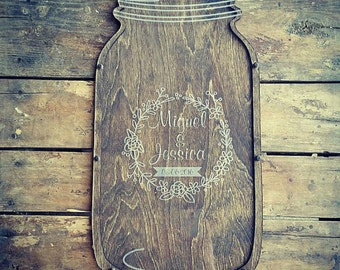 3D Guestbook | Mason Jar Guest Book | Wedding Guestbook Alternative | Mason Jar Wedding