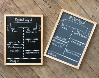 First Day Of School Chalkboard Sign | Last Day Of School Chalkboard Sign | First and Last Day Of School Chalkboard Sign