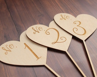 Heart Wedding Table Numbers | Laser Engraved | Rustic Wedding Table Numbers | Table Numbers | Centerpiece Table Numbers