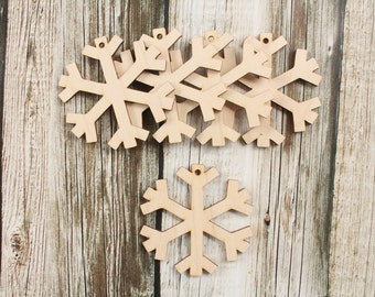 Christmas Snowflake Ornaments | Wood Christmas Ornament | DIY Unfinished Wood Snowflake Ornamanets