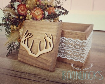 Antler Keepsake Box | Rustic Wood Box | Antler Ring Box | Wedding Ring Box | Ring Box Under 20
