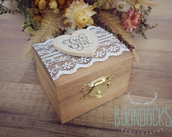 Two Become One Rustic Ring Box | Rustic Chic Wedding Ring Box | Lace Ring Box | Ring Box
