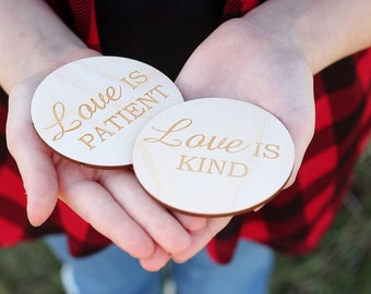 Love Is Wood Discs | Rustic Wedding Favors | Love Is Patient Love Is Kind | 1 corinthians 13